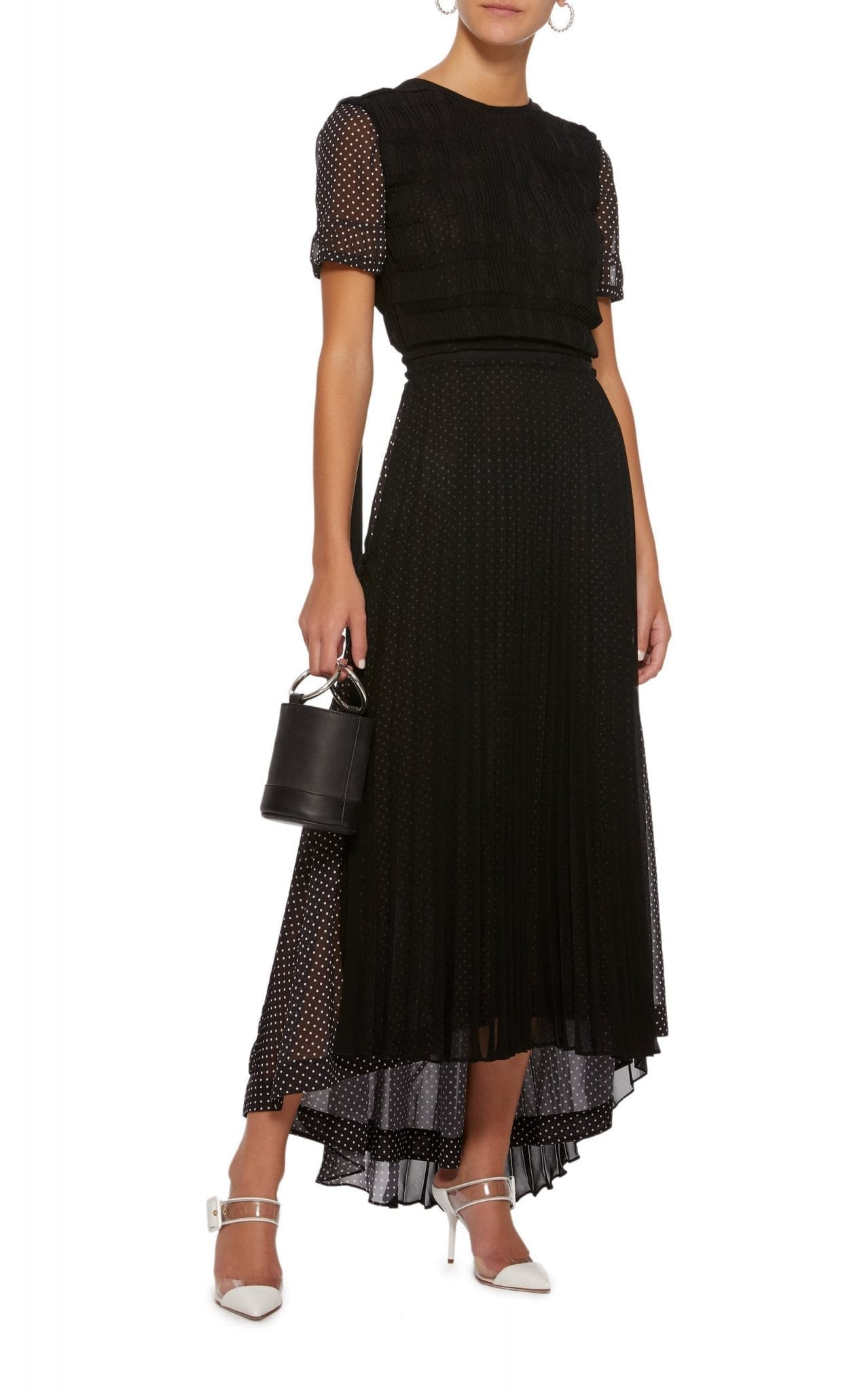 LOEWE Polka-Dot Pleated Chiffon Midi Black Dress