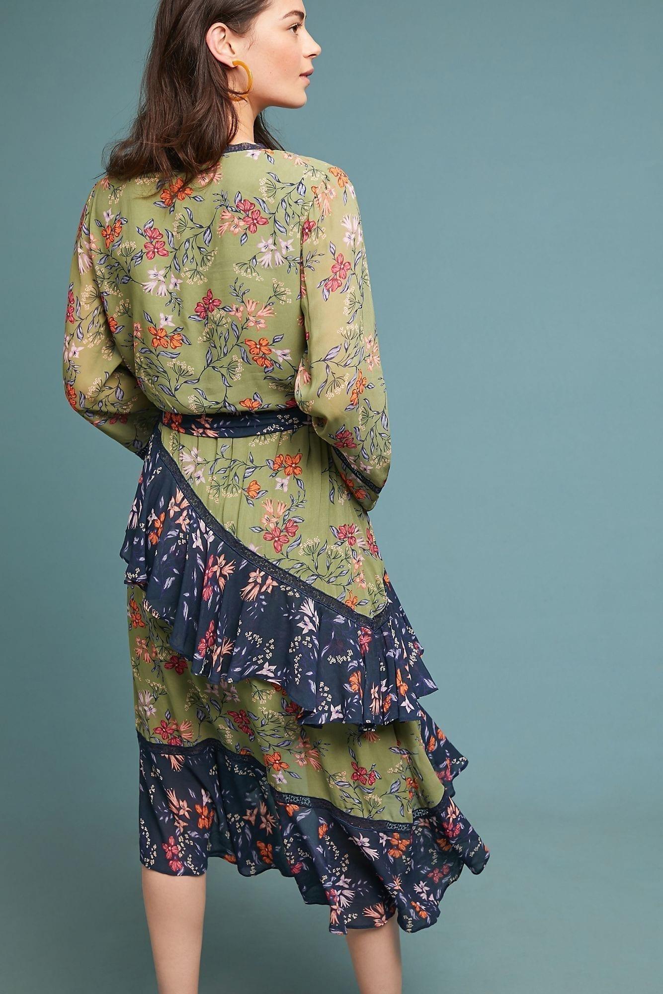 Love Sam Williston Wrap Green Blue Fl Printed Dress