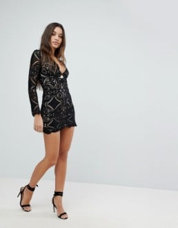 LOVE TRIANGLE V-Neck Mini All Over Lace Black Dress