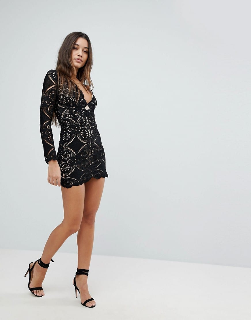 Love Triangle V Neck Mini All Over Lace Black Dress We Select Dresses