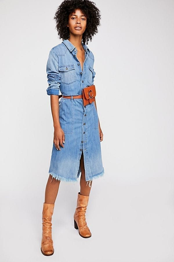 Free people Long Classic Denim Shirt