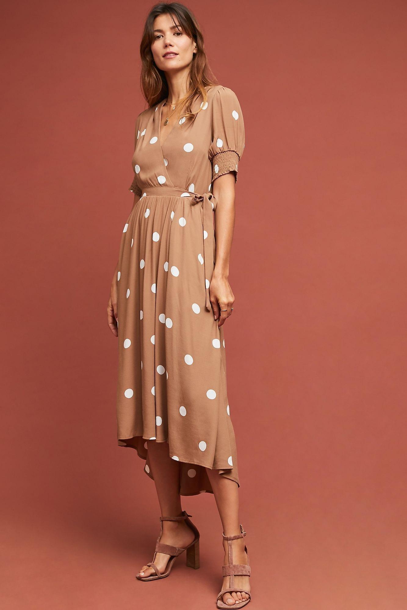 MAEVE Bernice Polka Dot Wrap Brown Dress