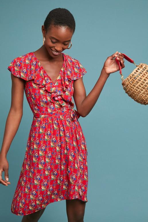 MAEVE Rosalia Wrap Red / Floral Printed Dress