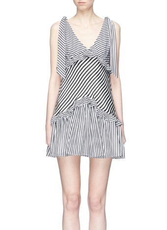 MAGGIE MARILYN Ruffle Stripe Mini Black / White Dress