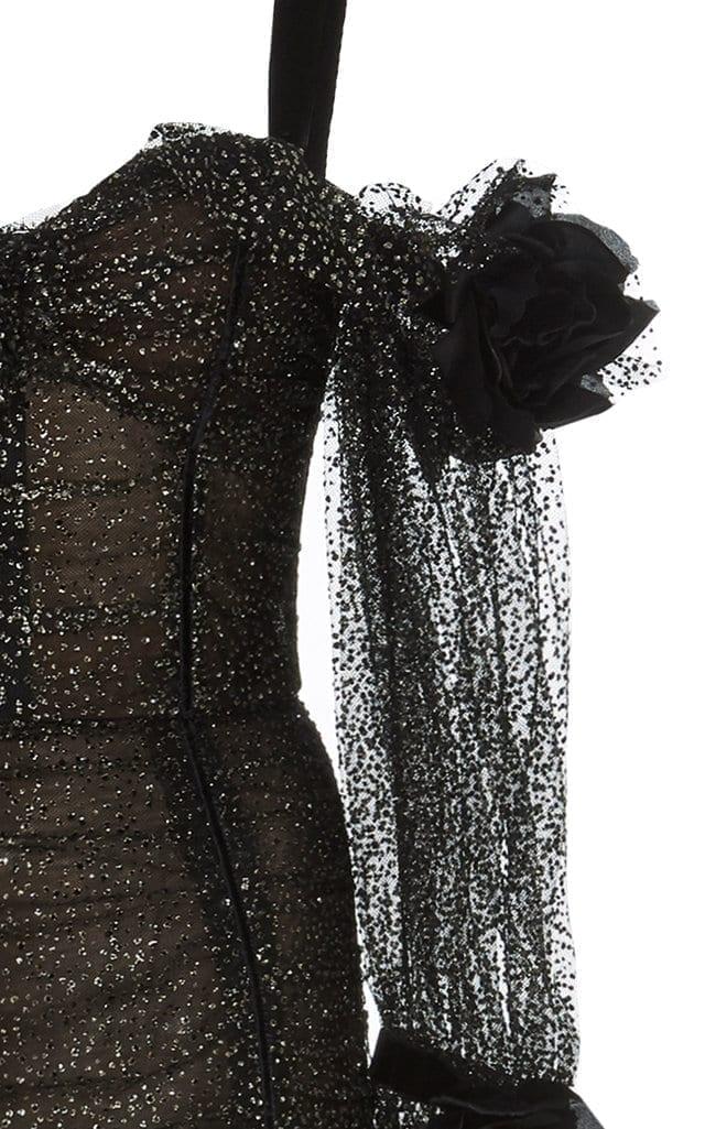 MARCHESA Cold-Shoulder Glittered Tulle Black Dress