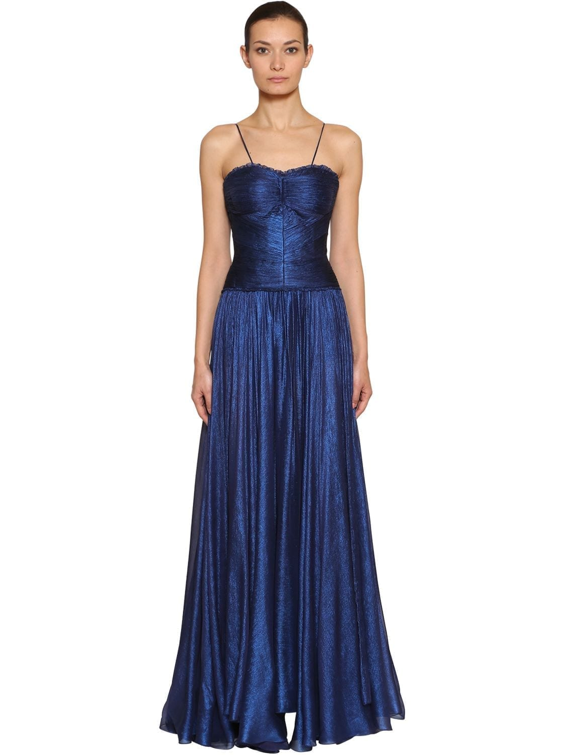MARIA LUCIA HOHAN Metallic Silk Mousseline Gown Blue Dress