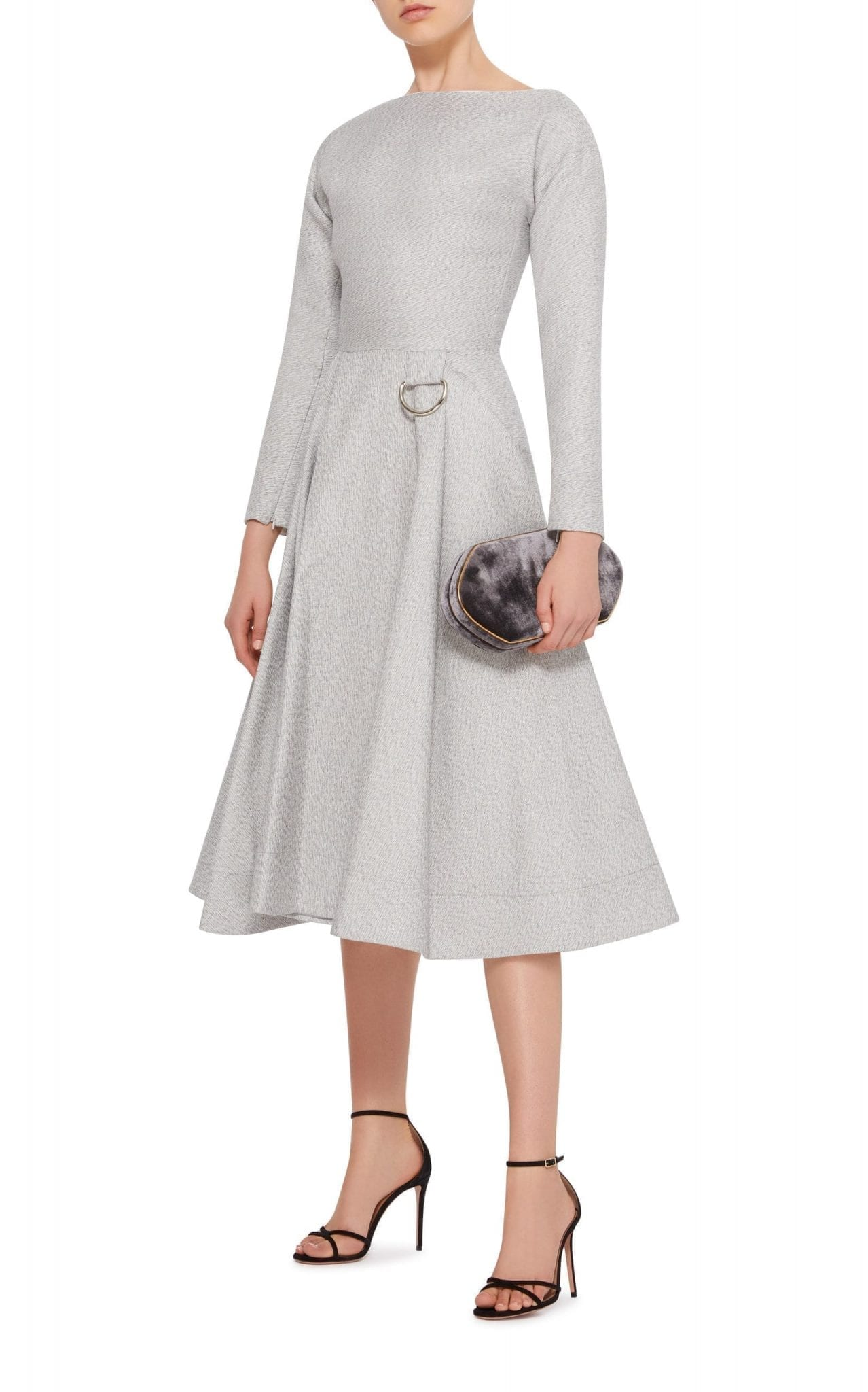 MATICEVSKI Beguiled Pleated A-Line Midi Grey Dress