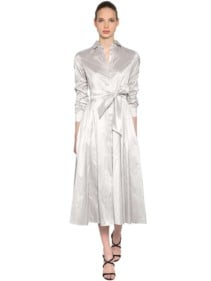 MAX MARA Silk Shantung Shirt Grey Dress