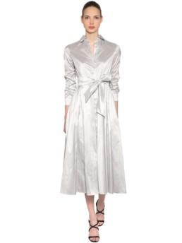 MAX MARA Silk Shantung Shirt Grey Dress