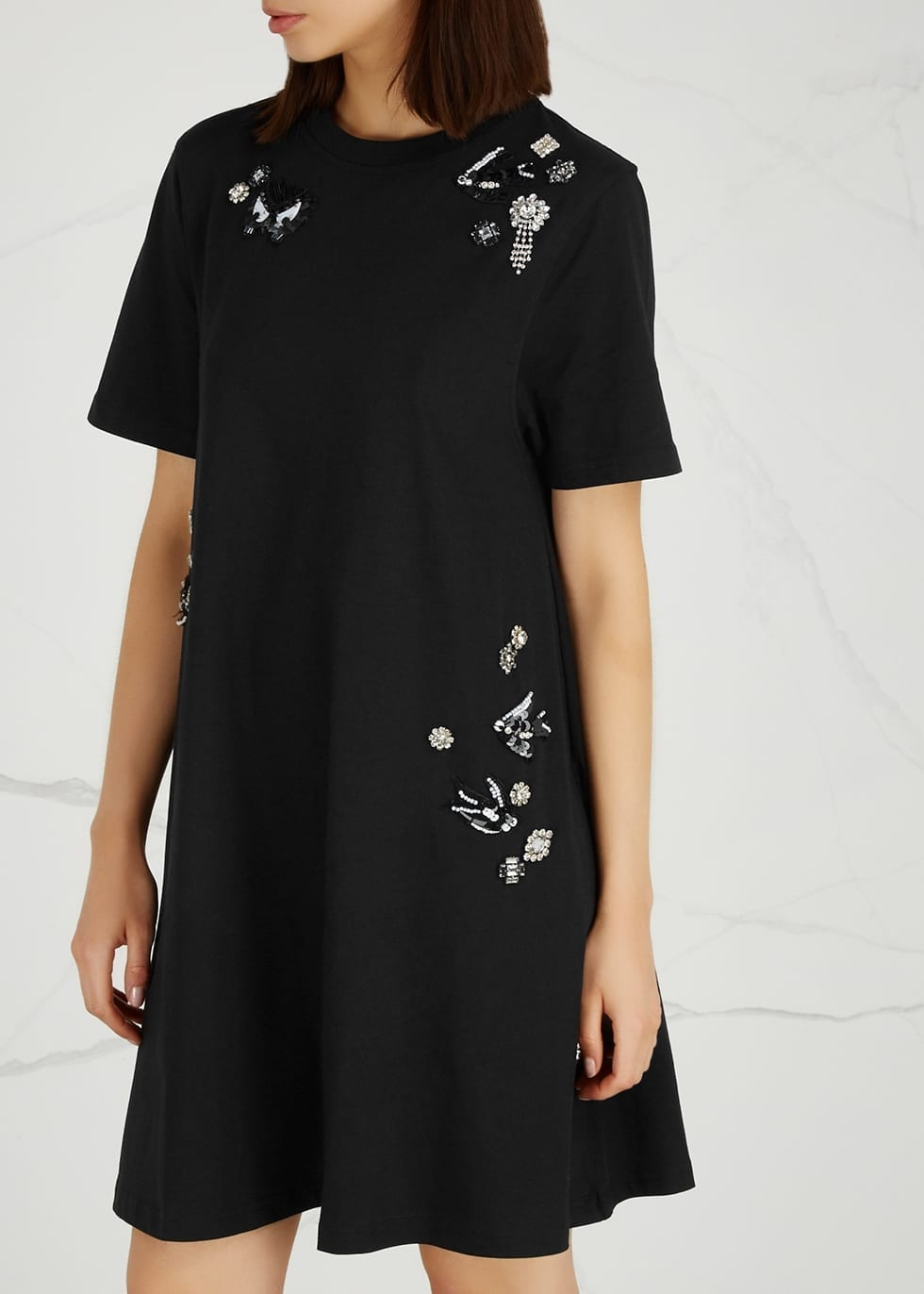 9723a5131f35a MCQ ALEXANDER MCQUEEN Embellished Cotton T-shirt Black Dress - We ...