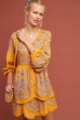 MEADOW RUE Lisette Embroidered Tunic Yellow Dress