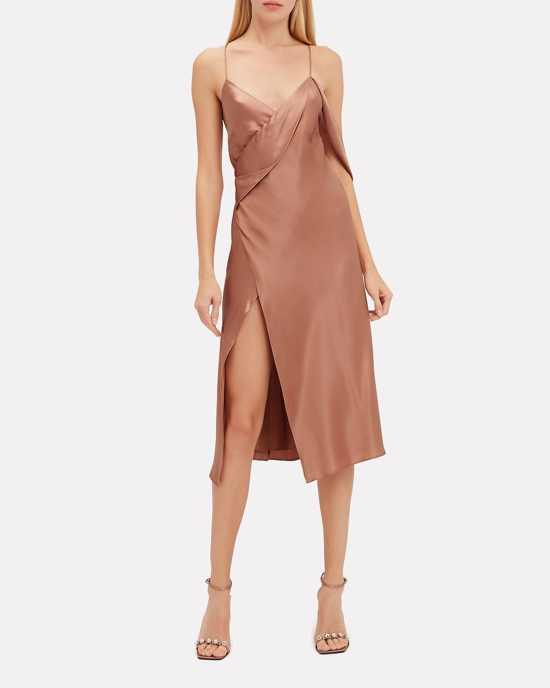 MICHELLE MASON Strappy Midi Nude Dress