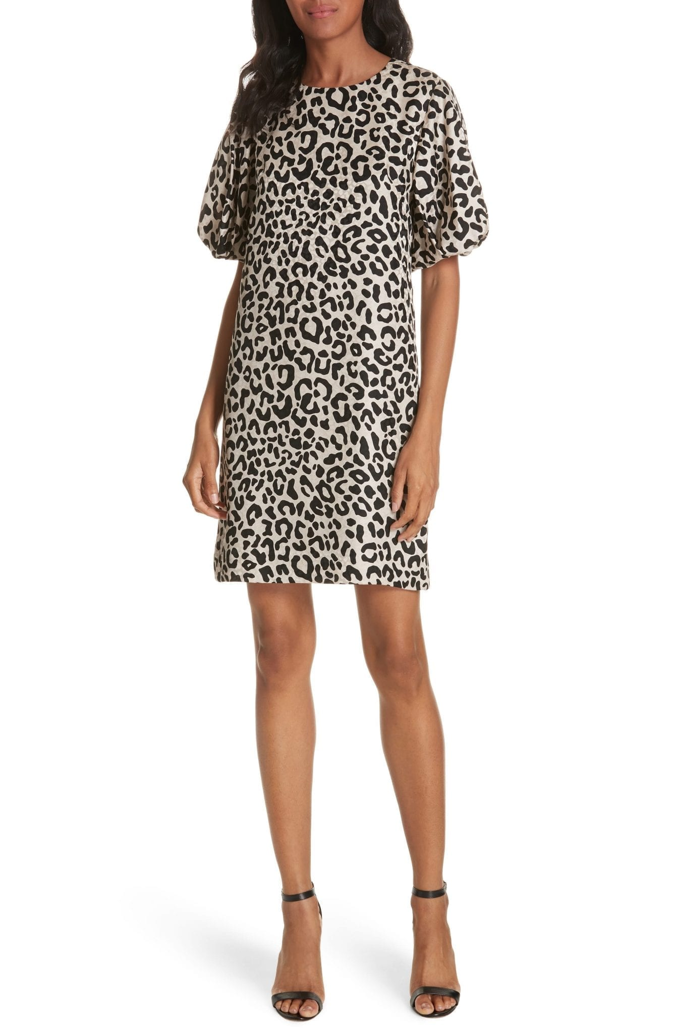 MILLY Melinda Leopard Print Silk Jacquard Shift Tan Dress