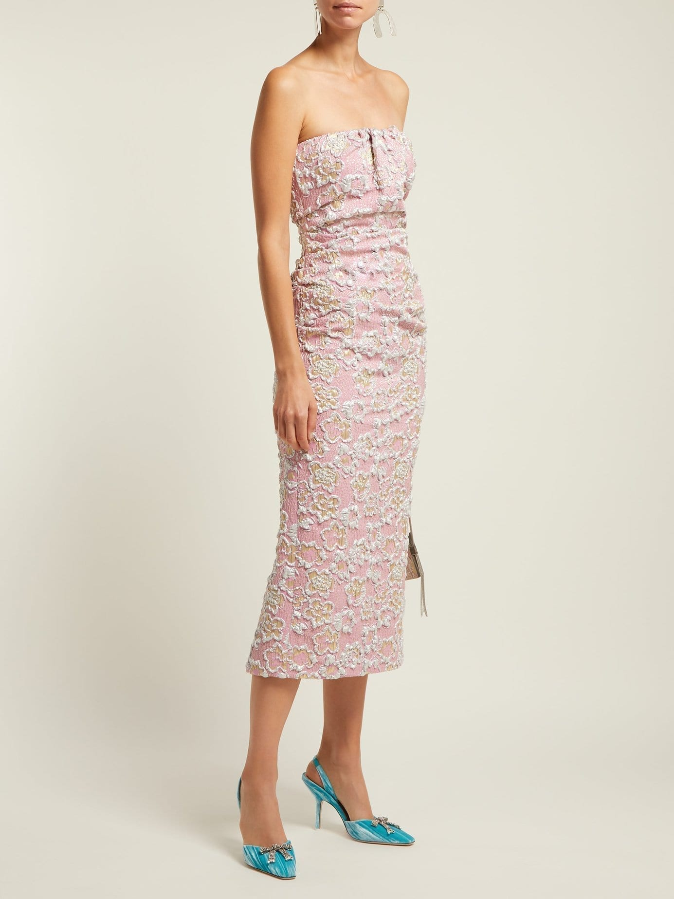 MIU MIU Strapless Cloqué Midi Pink Dress