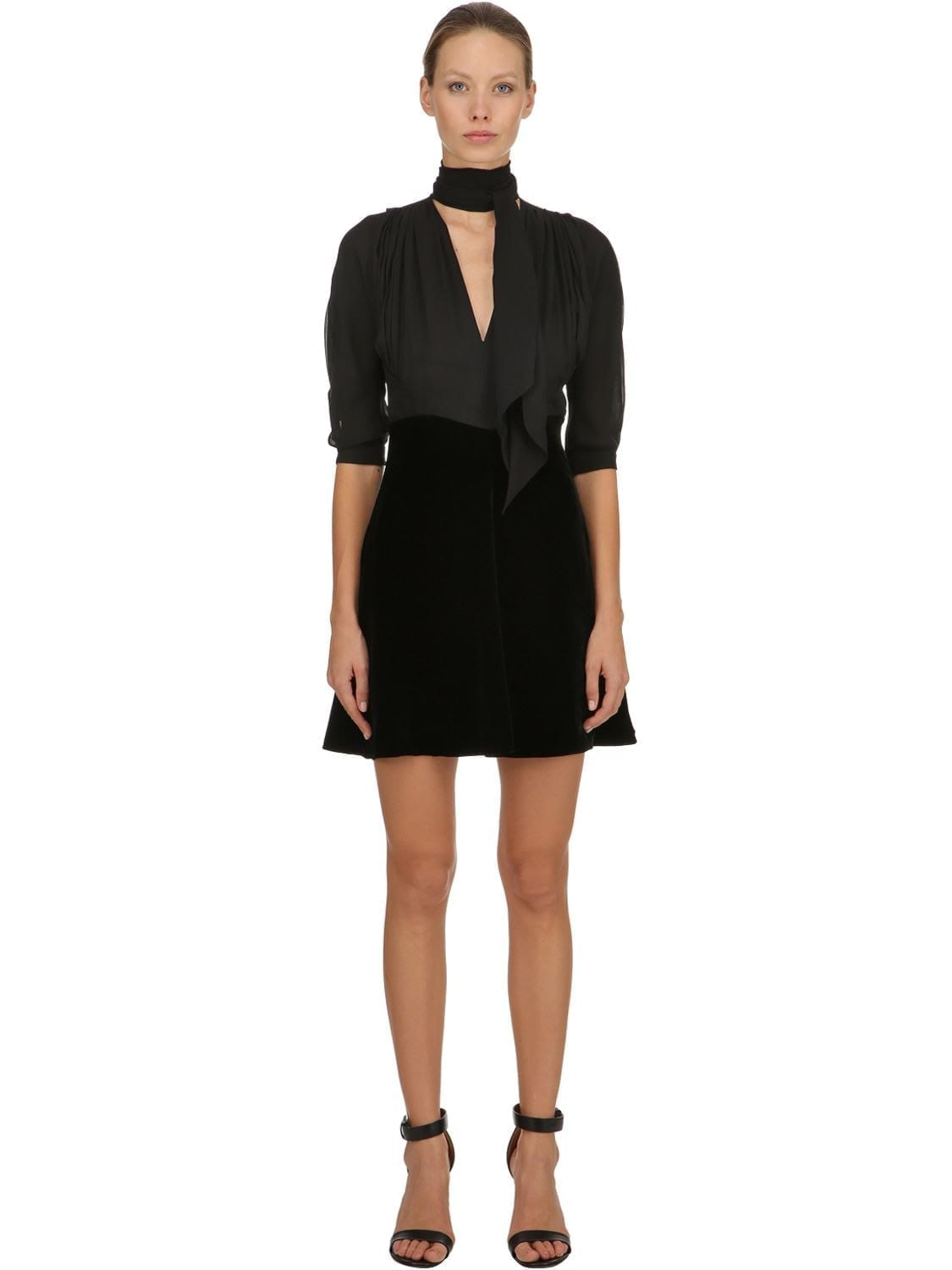 MIU MIU Velvet & Silk Georgette Mini Black Dress
