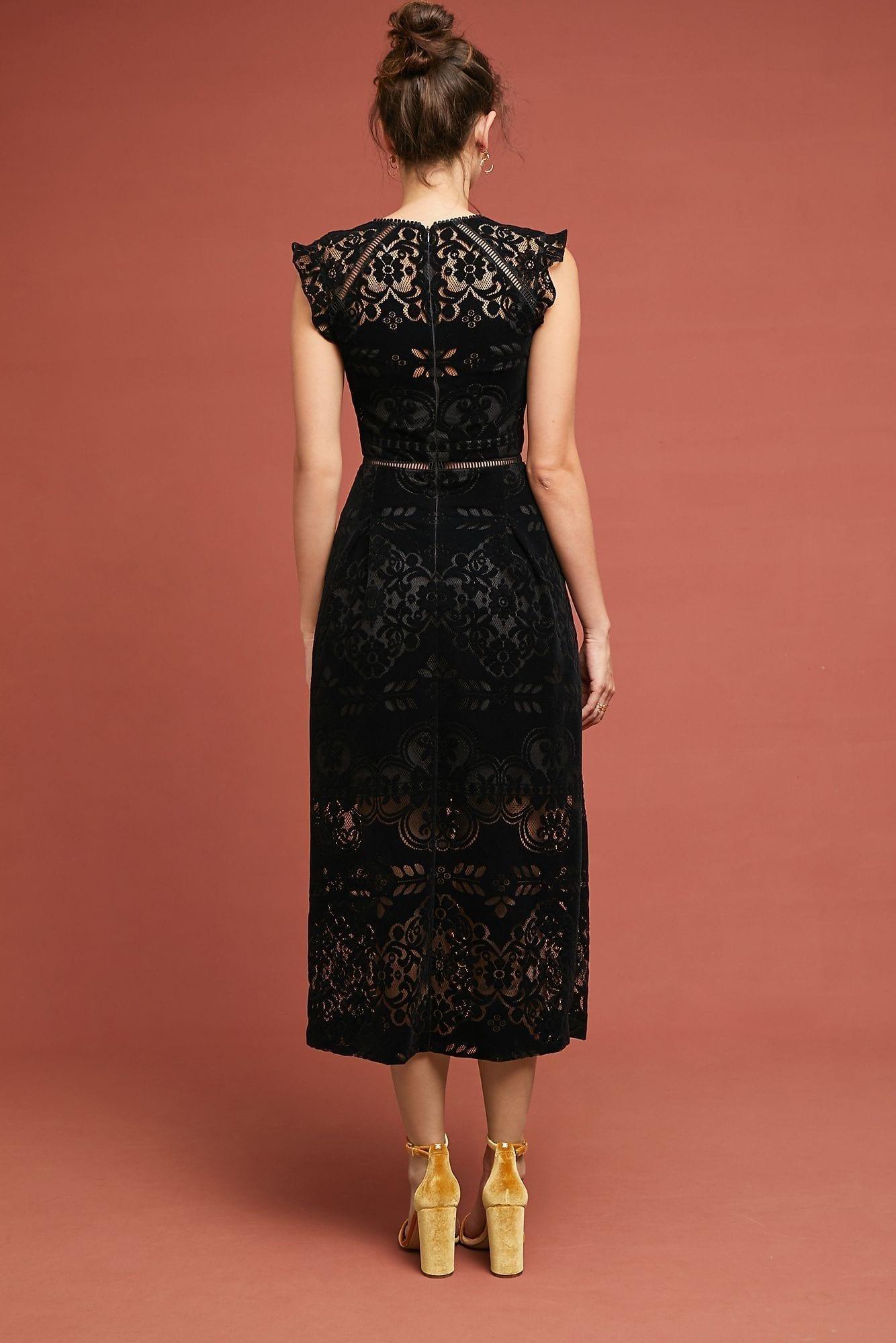 d97053ee646 ML MONIQUE LHUILLIER ML Monique Lhuillier Ariadne Lace Black Dress ...