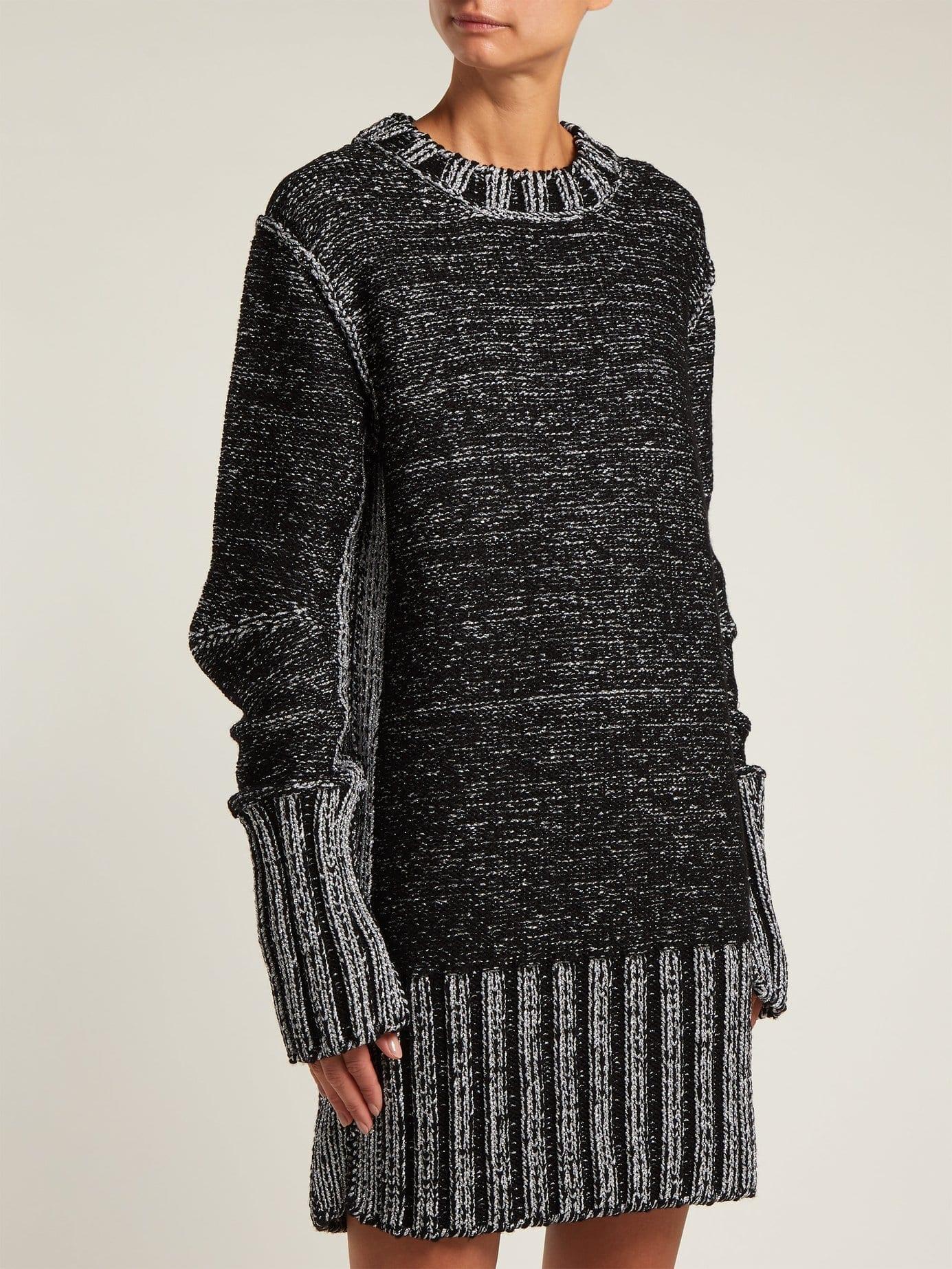 MM6 MAISON MARGIELA Metallic Heavy Knit Sweater Black Dress. MM6 MAISON  MARGIELA Metallic Heavy Knit Sweater Black Dress c8a3fe086