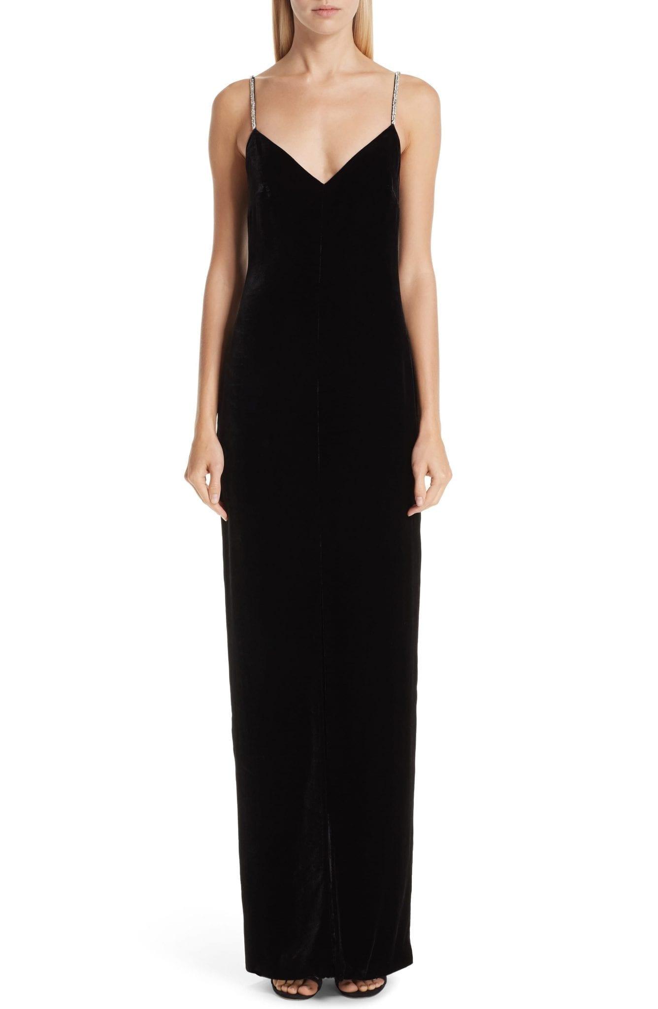 MONIQUE LHUILLIER Crystal Strap Velvet Column Black Gown