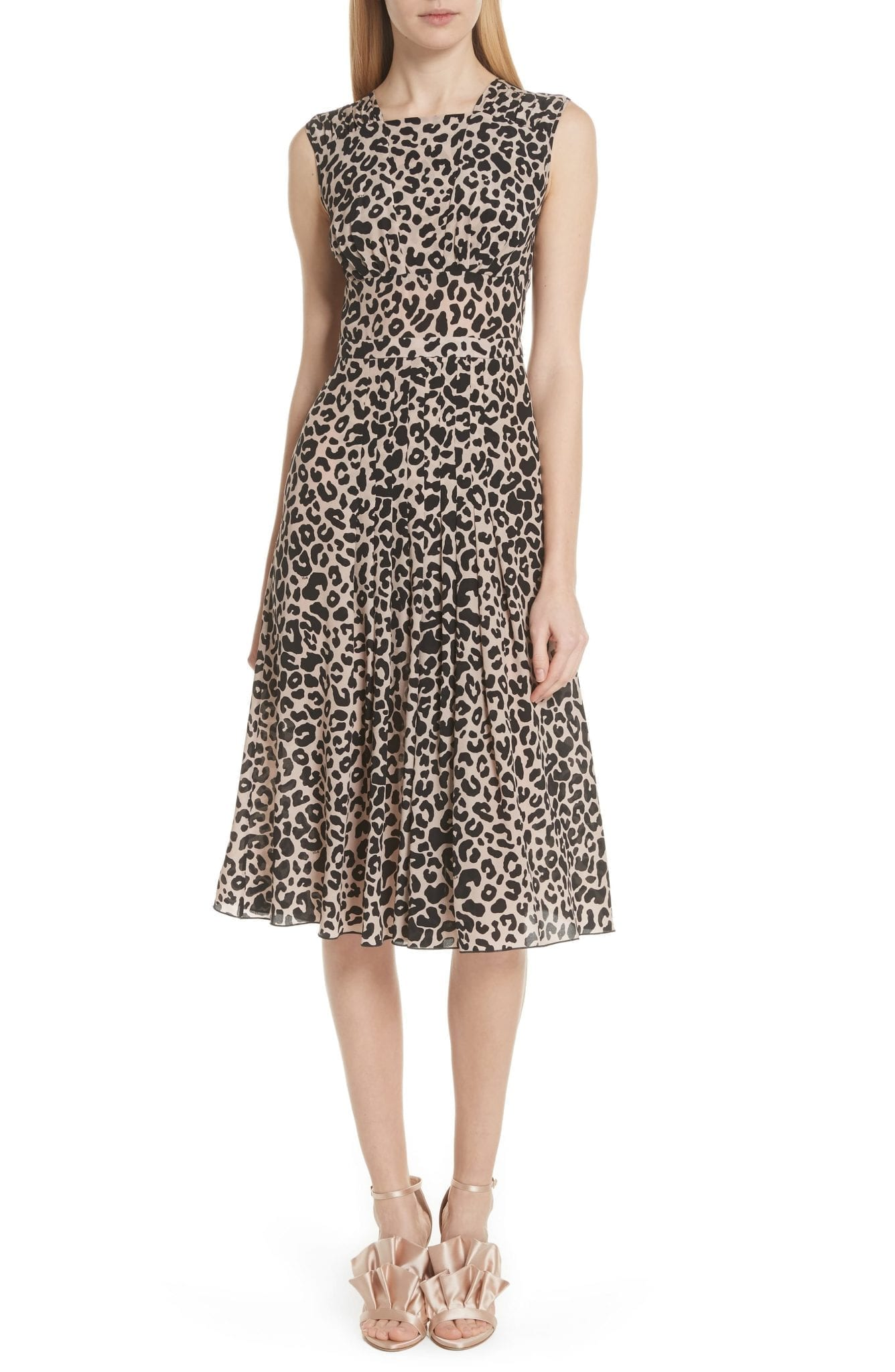 Nº21 Leopard Print Silk Camel / Black Dress