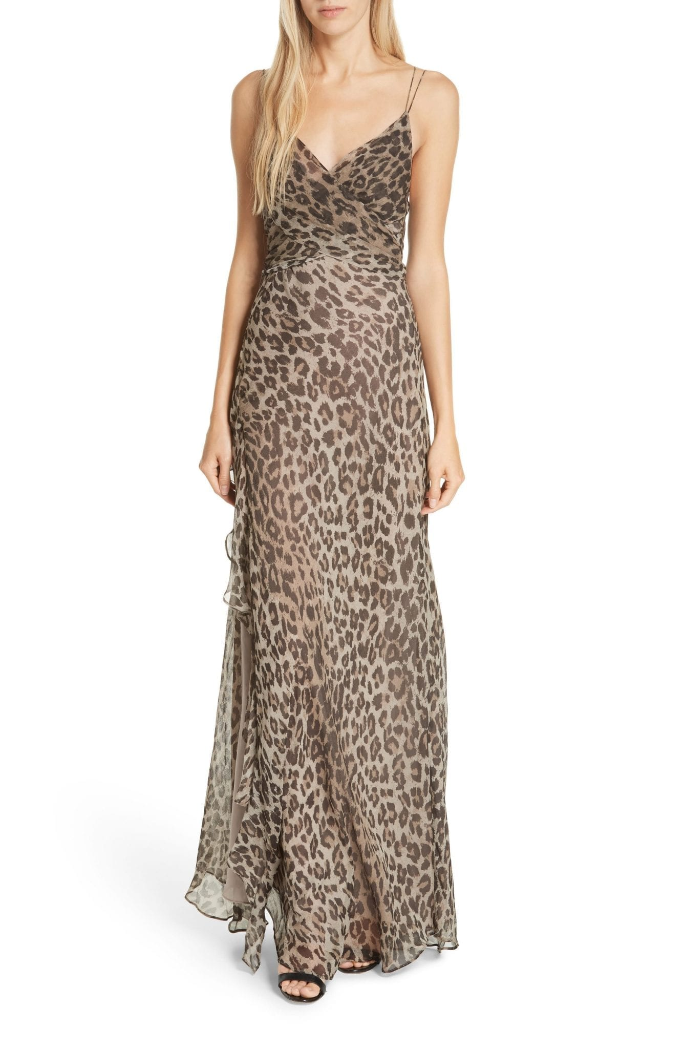 NICHOLAS Leopard Print Silk Maxi Brown Dress