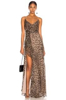 NICHOLAS Tie Front Maxi Leopard Printed Dress