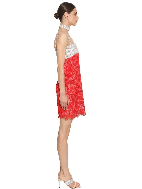 Nina Ricci Crystals Lace Red Dress