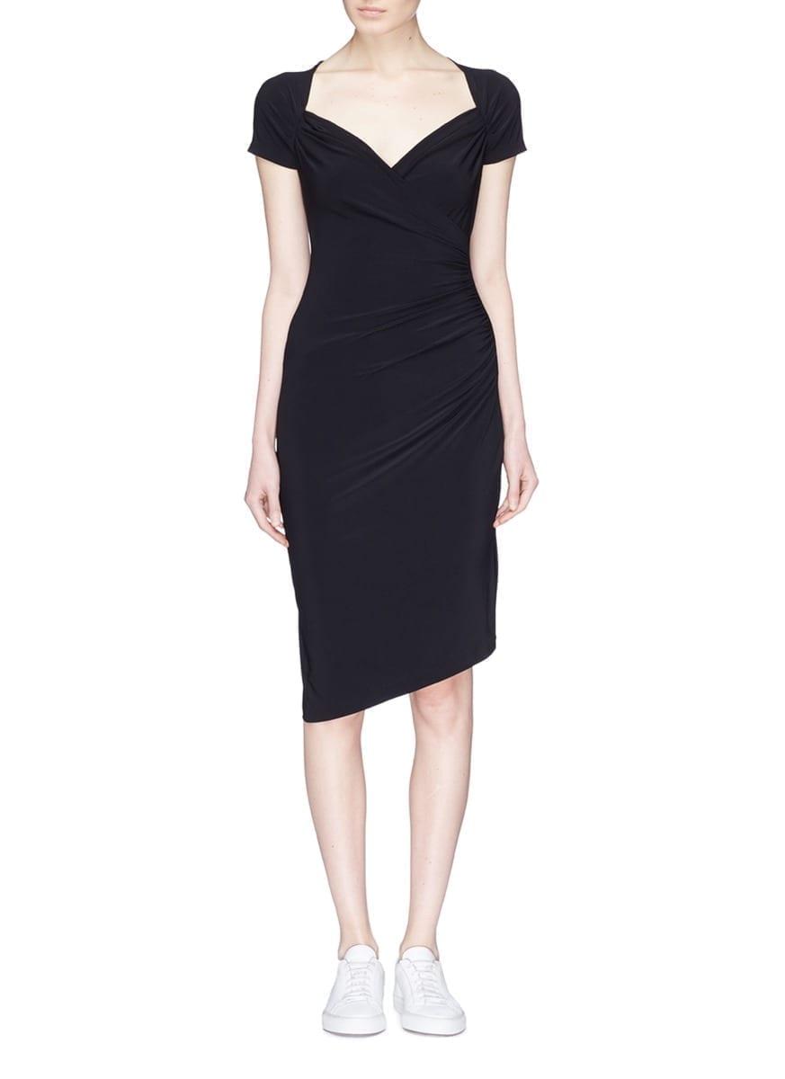 NORMA KAMALI Shirred Jersey Black Dress