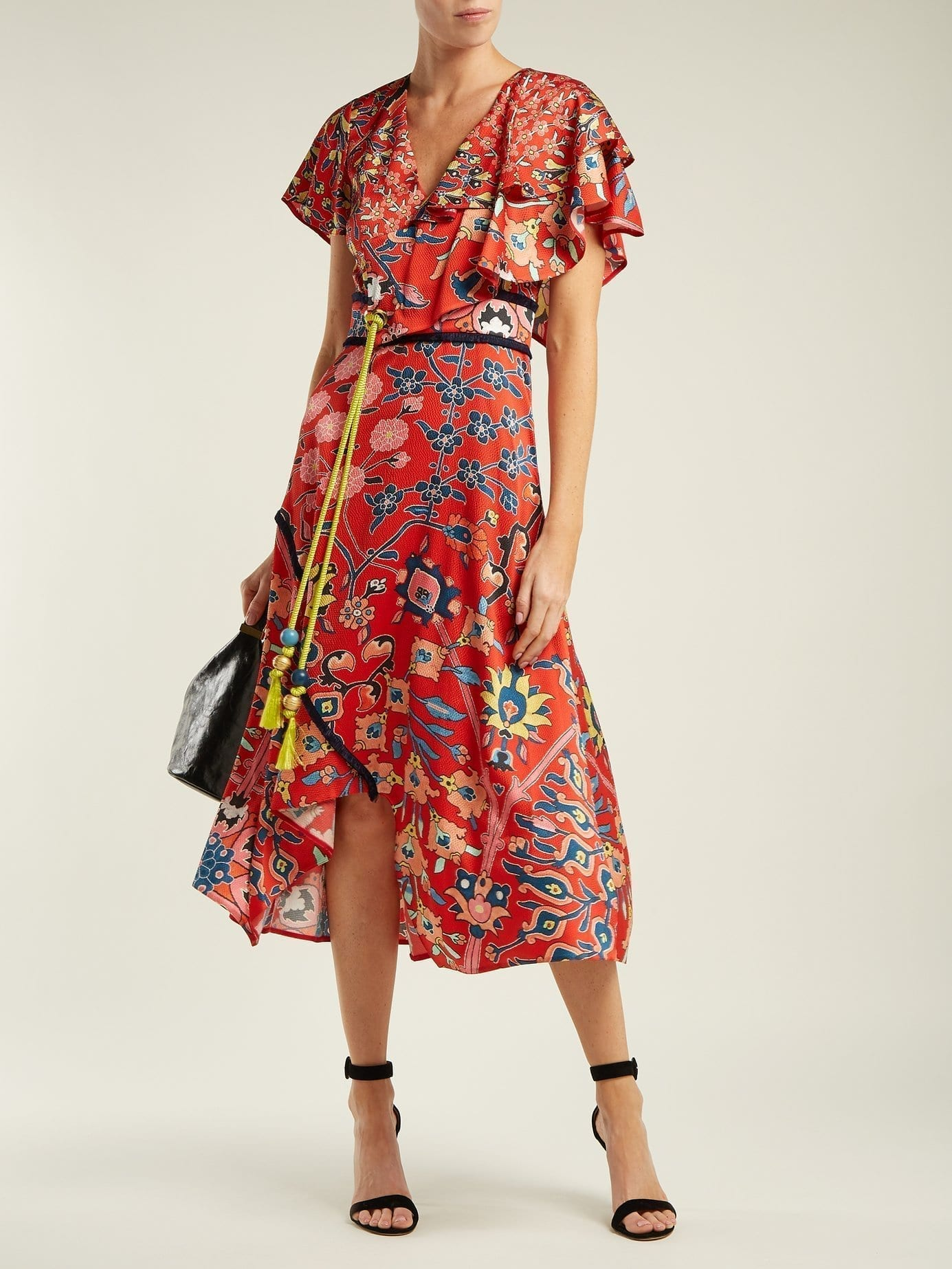PETER PILOTTO Stretch Silk Red / Floral Printed Dress