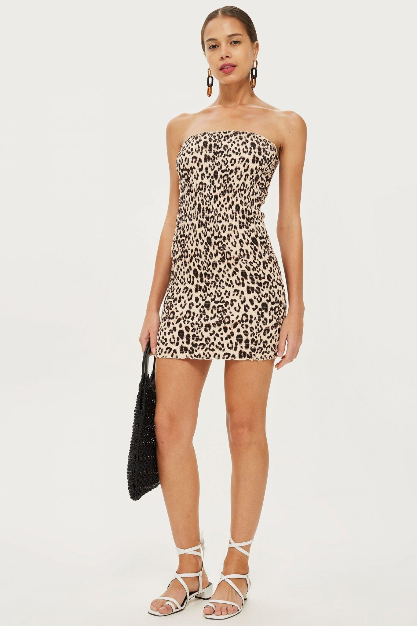 PETITE Leopard Bandeau Bodycon Tan Dress