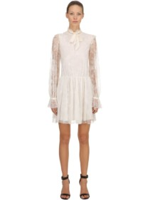 PHILOSOPHY DI LORENZO SERAFINI Floral Lace Mini Ivory Dress