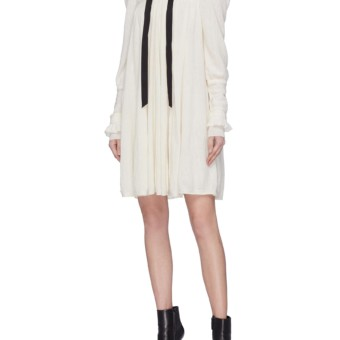 PHILOSOPHY DI LORENZO SERAFINI Puff Sleeve Lace Up Knit White Dress ... 20f0cfcf8
