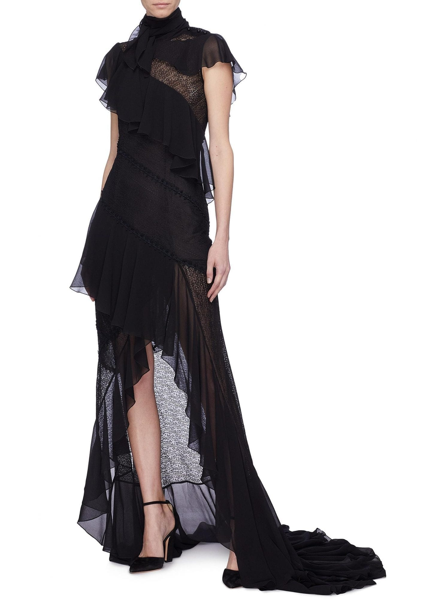 PHILOSOPHY DI LORENZO SERAFINI Sash Tie Neck Ruffle Tiered High-low Black Dress