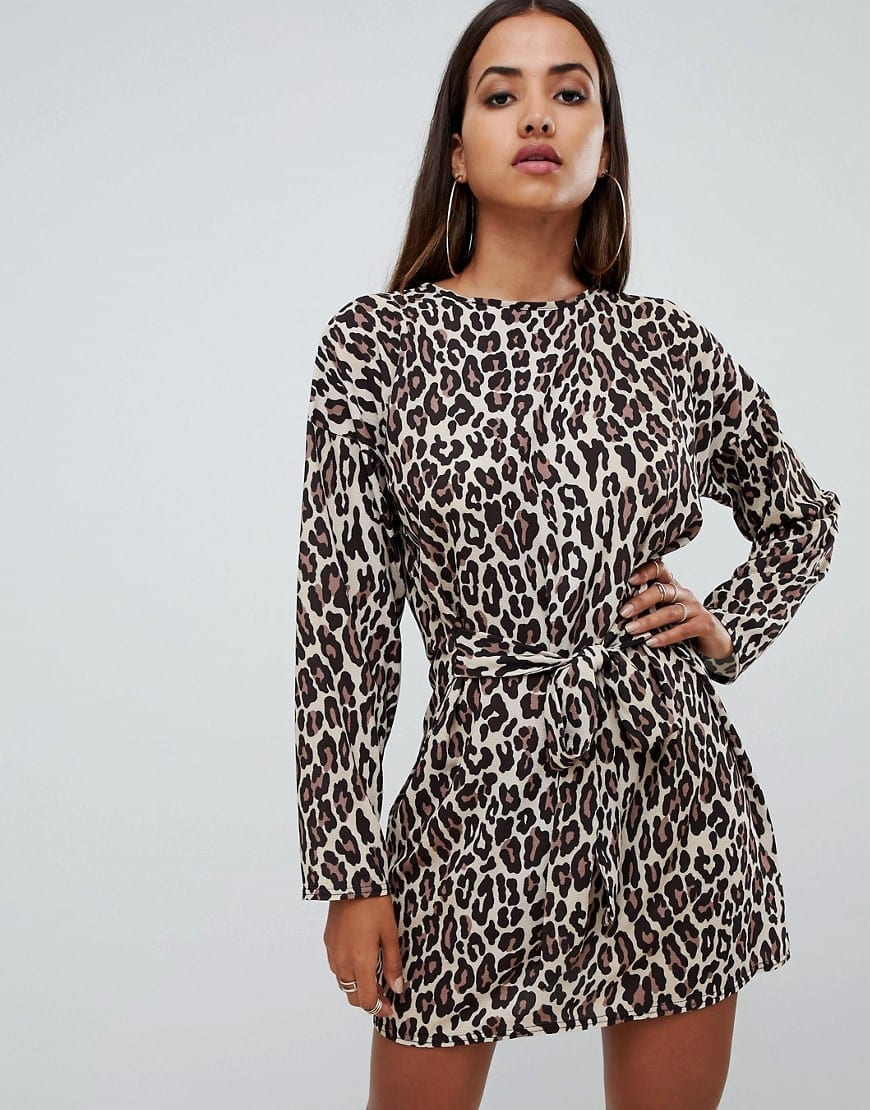 PRETTYLITTLETHING Tie Waist Leopard Printed Dress