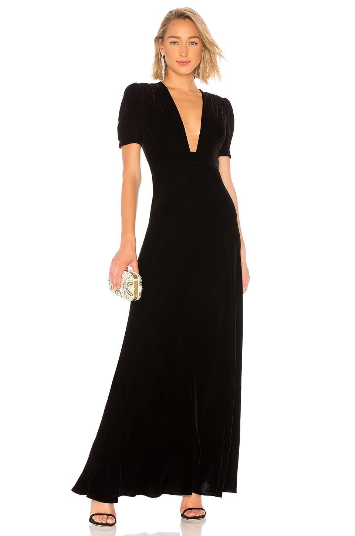PLUNGE Neck Velvet Gown- Black Dress - We Select Dresses