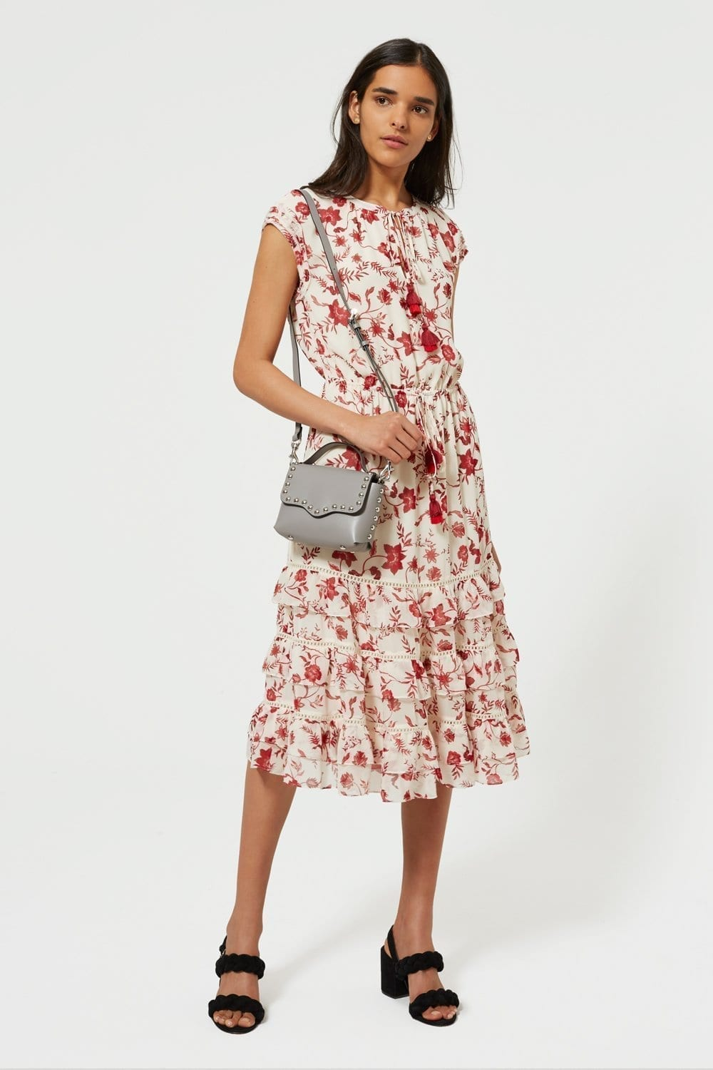 REBECCA MINKOFF Sophie Cream Floral Printed Dress
