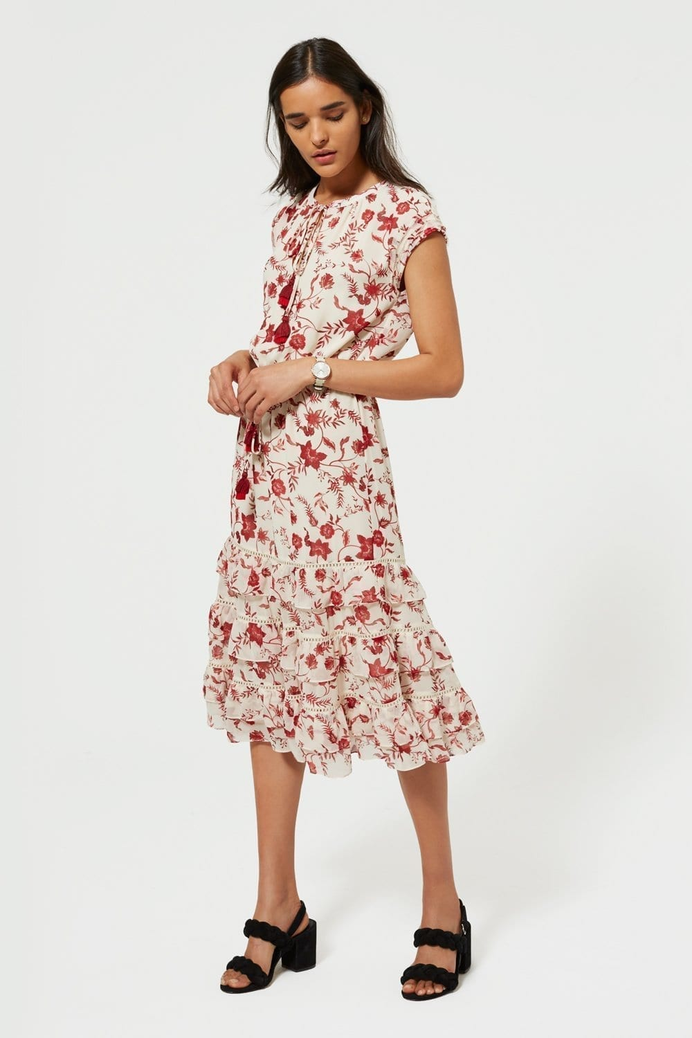 REBECCA MINKOFF Sophie Cream   Floral Printed Dress - We Select Dresses 027fc0b09d5