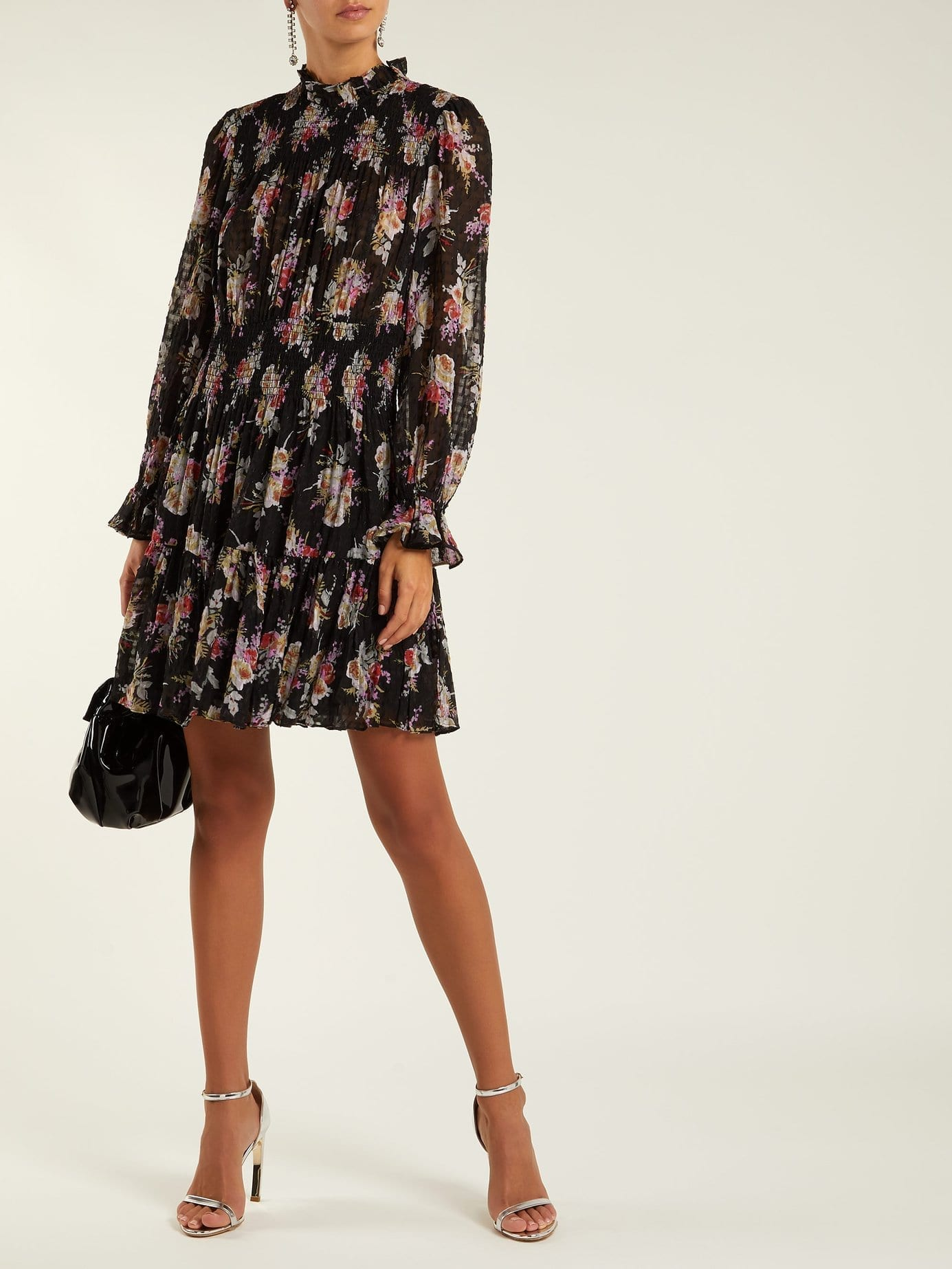 REBECCA TAYLOR Bouquet Silk Blend Mini Black / Floral Printed Dress
