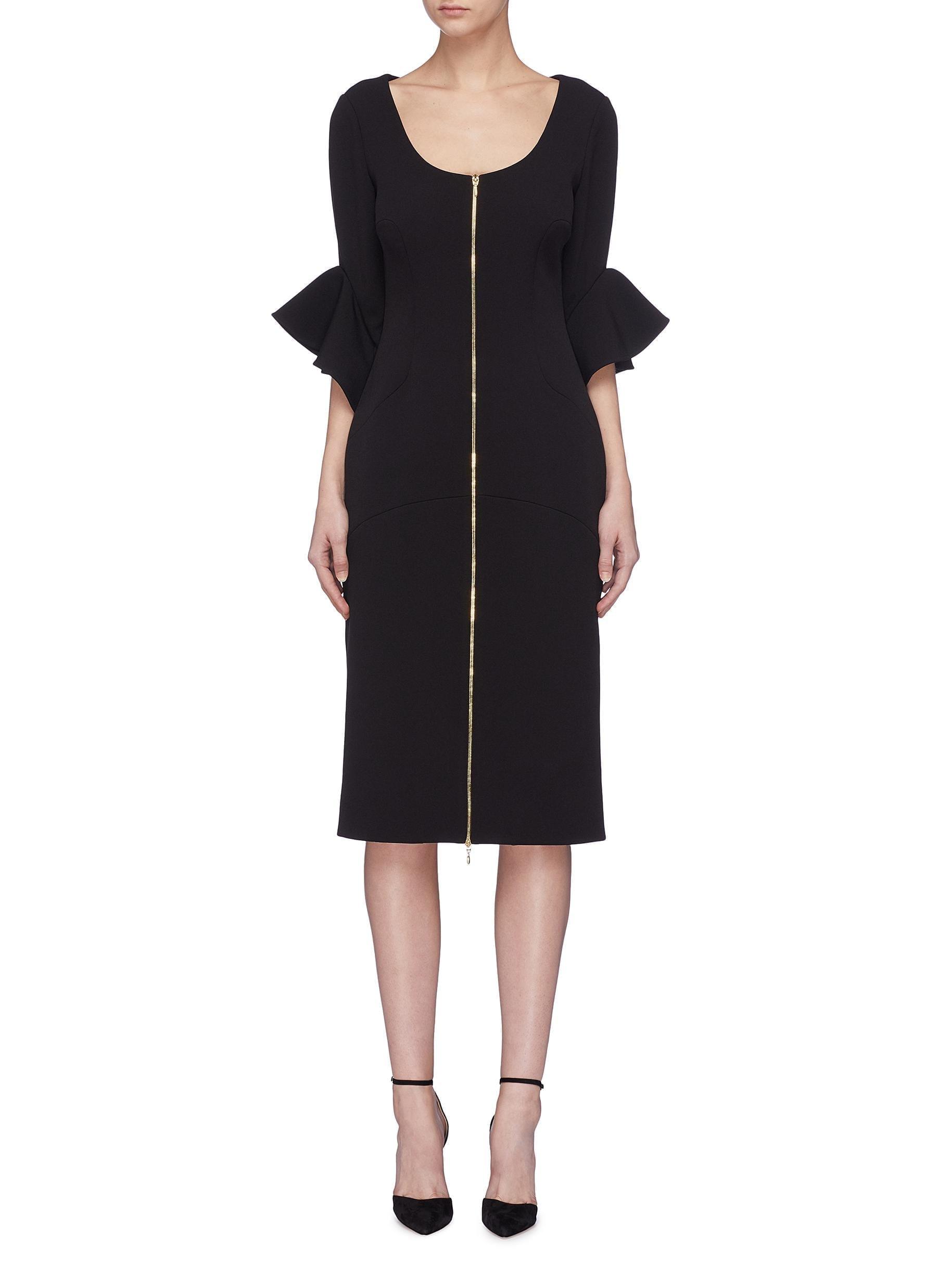 REBECCA VALLANCE 'Carline' Drape Ruffle Cuff Zip Front Crepe Black Dress