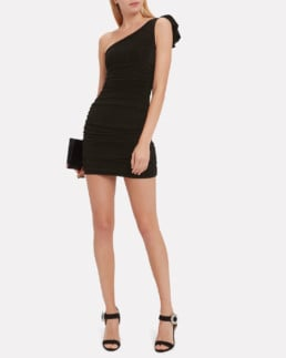 REDEMPTION One Shoulder Lurex Mini Black Dress
