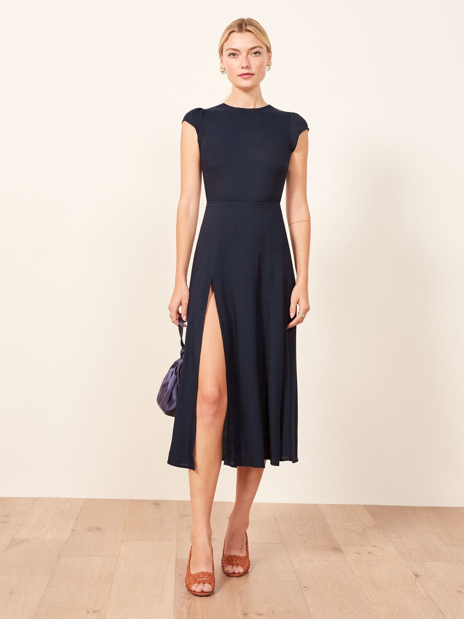 REFORMATION Gavin Navy Dress