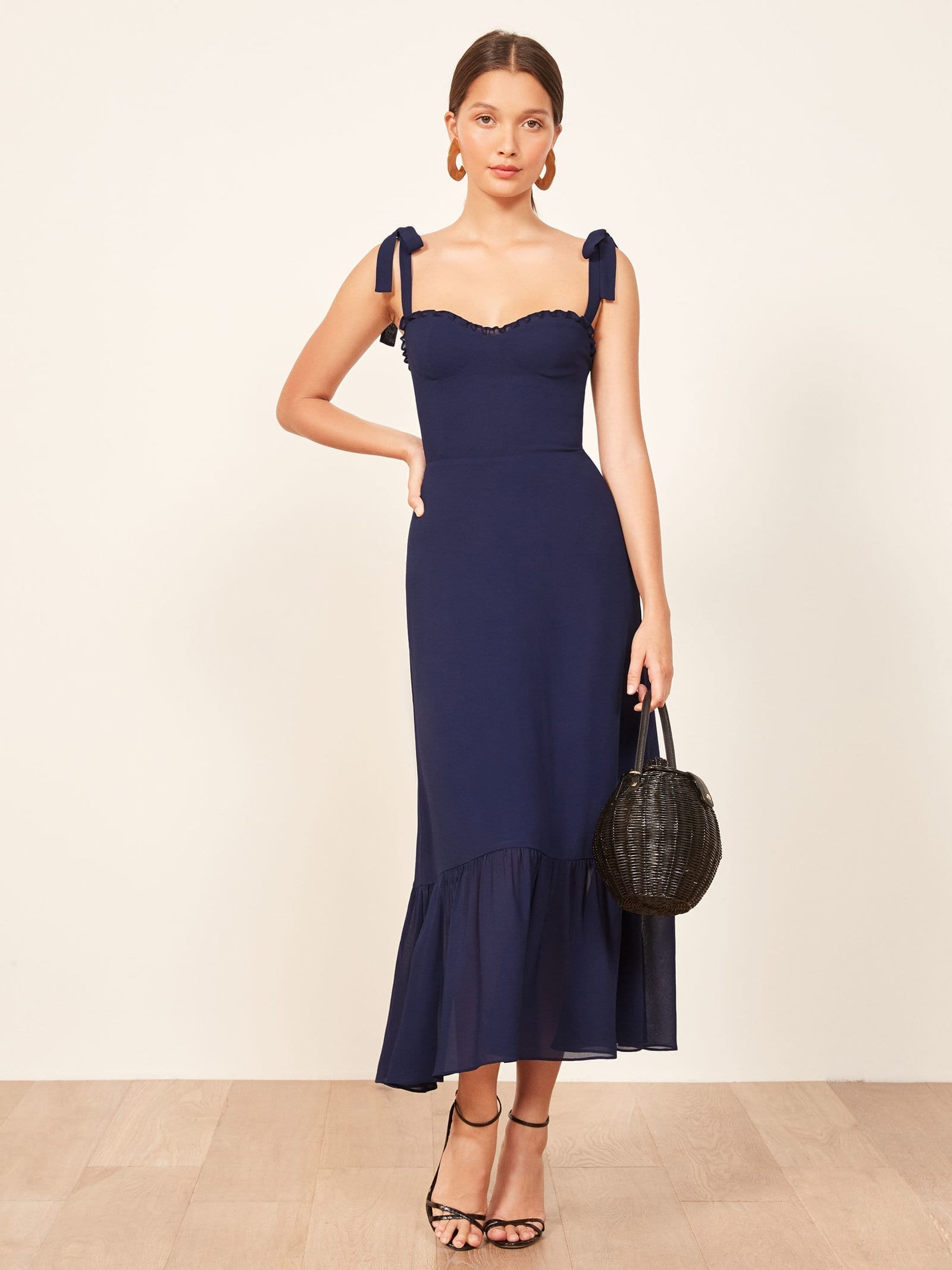 Reformation Nikita Navy Dress