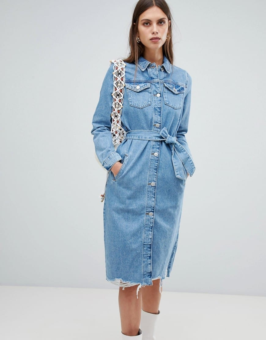 RIVER ISLAND Denim Shirt Mid Wash Blue Dress