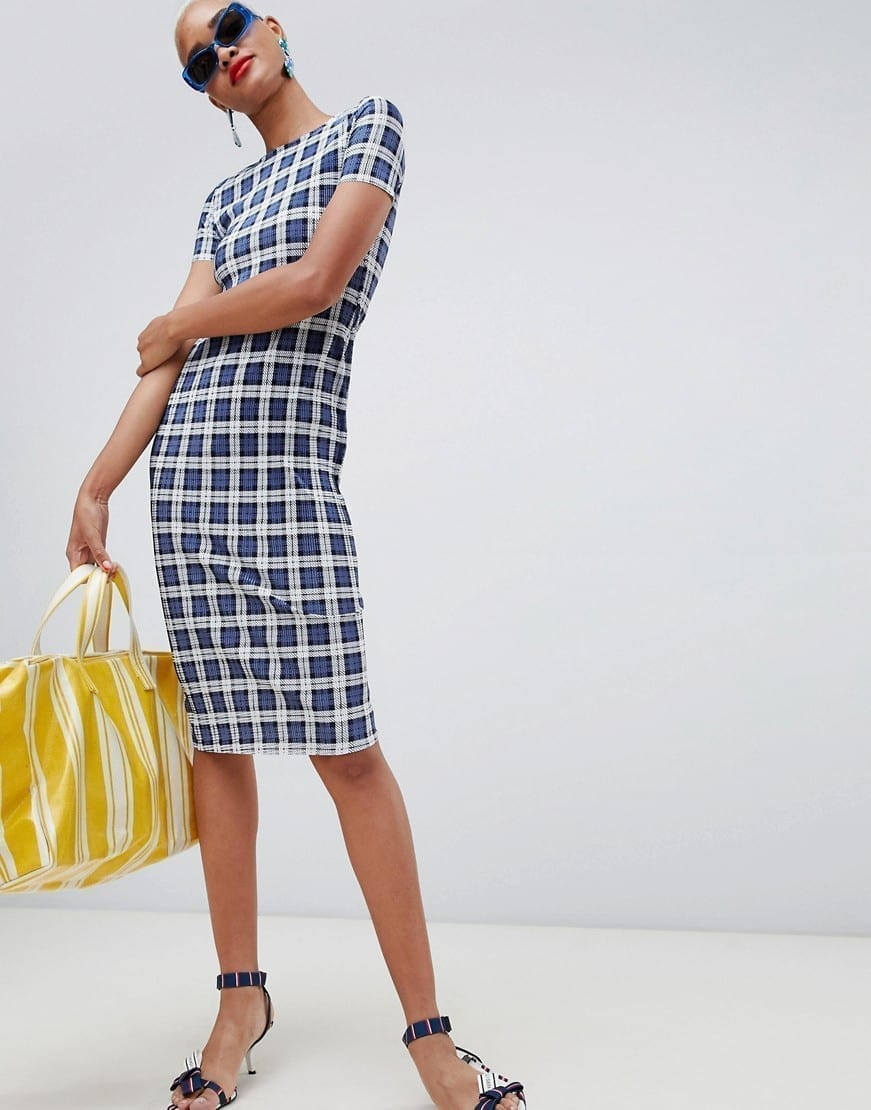 RIVER ISLAND Plisse High Neck Midi Navy Check Dress