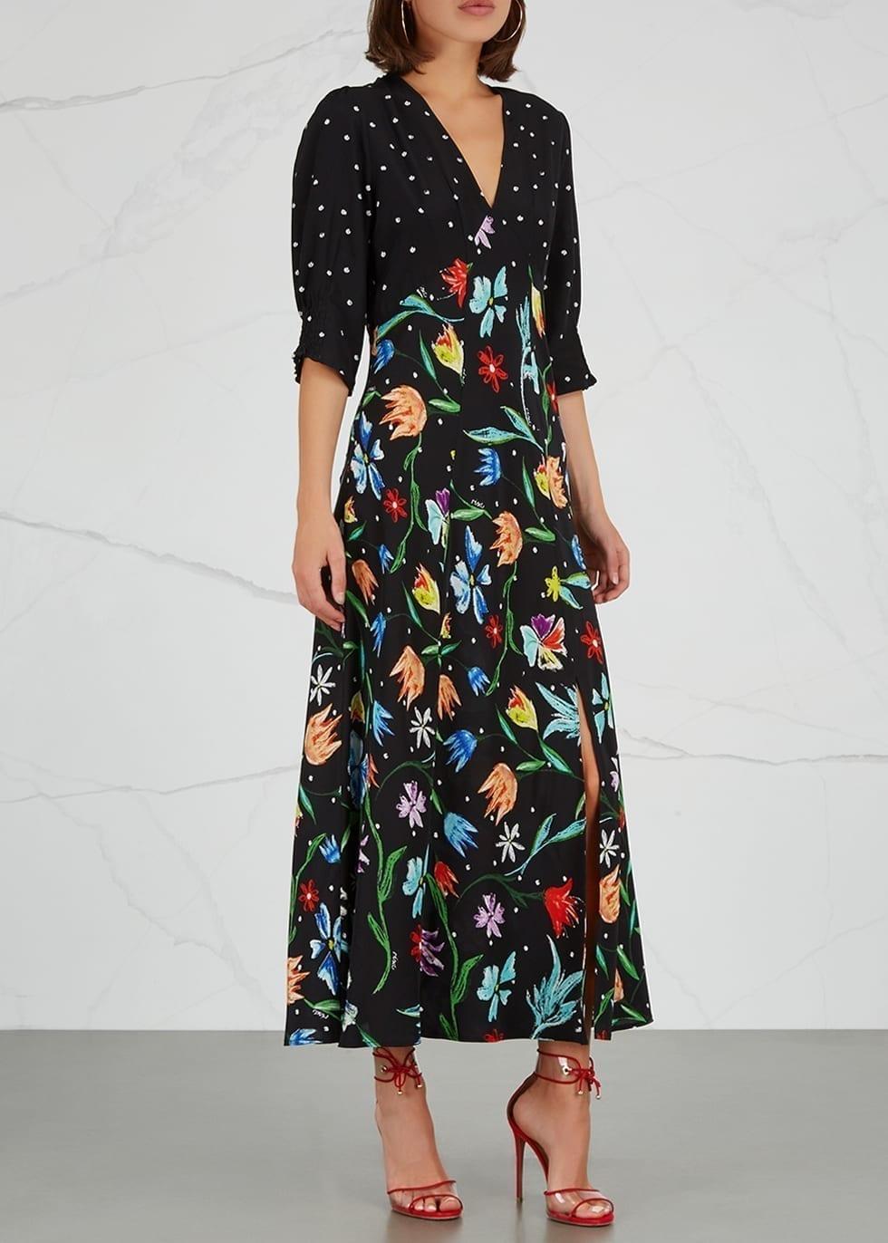 8c3b33cc102 RIXO LONDON Martha Silk Midi Black   Floral Printed Dress - We ...
