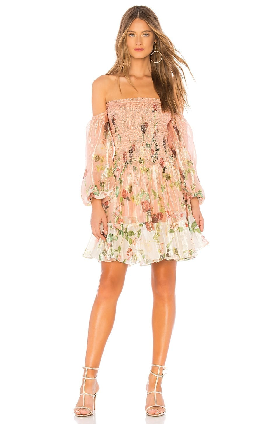 Rococo Sand Off Shoulder Short Peach Dress