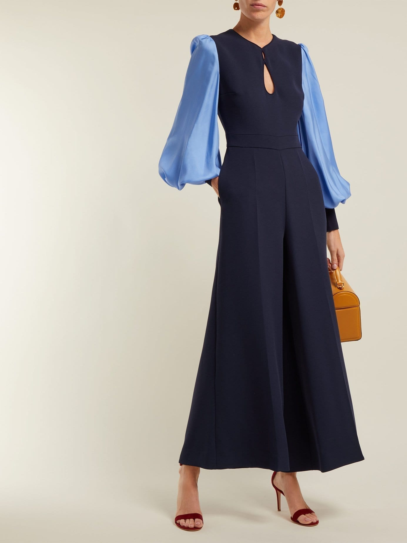 ROKSANDA Aunya Balloon Sleeve Navy Jumpsuit