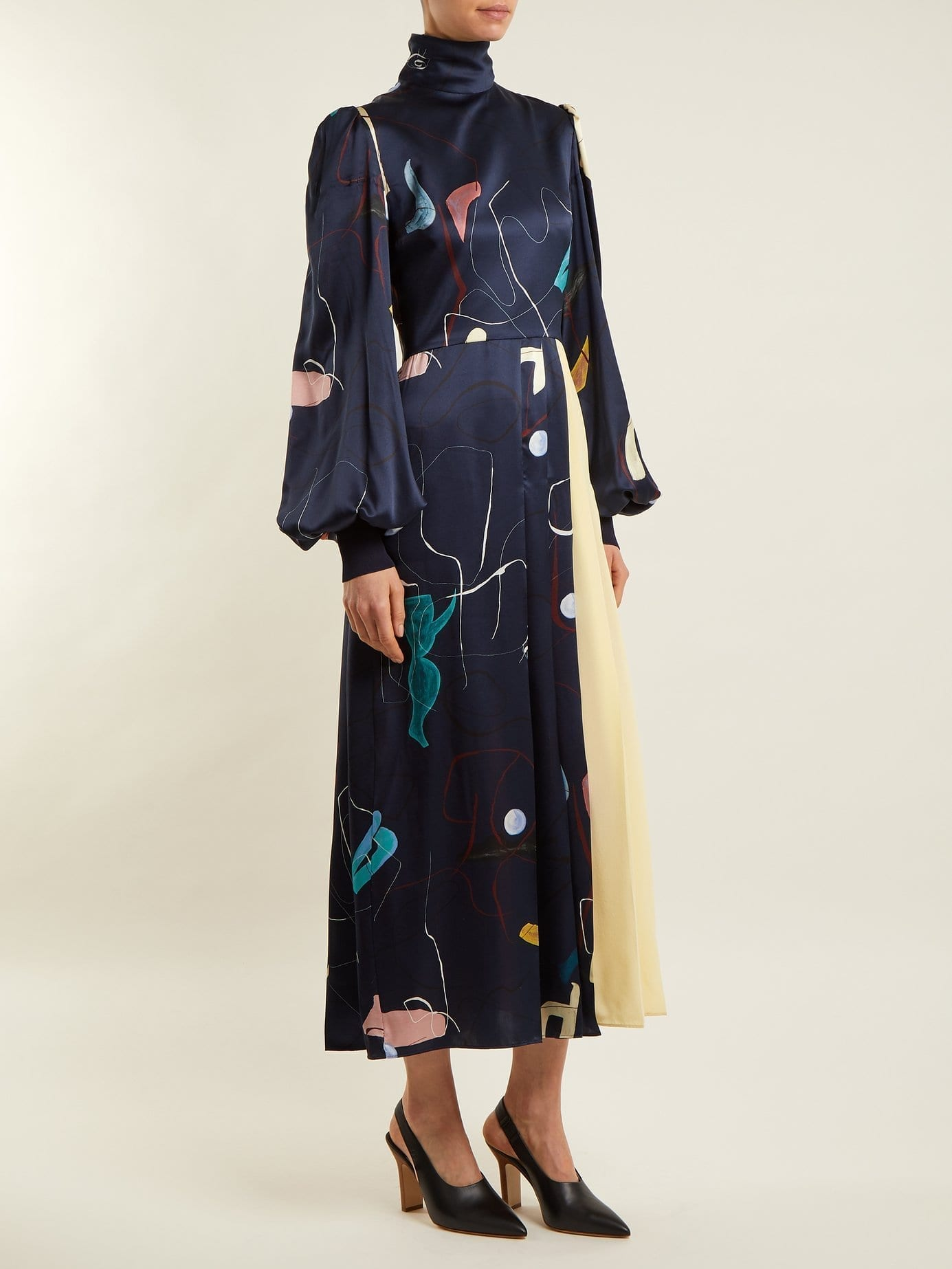 ROKSANDA Ayve Abstract Print Contrast Panel Navy Dress
