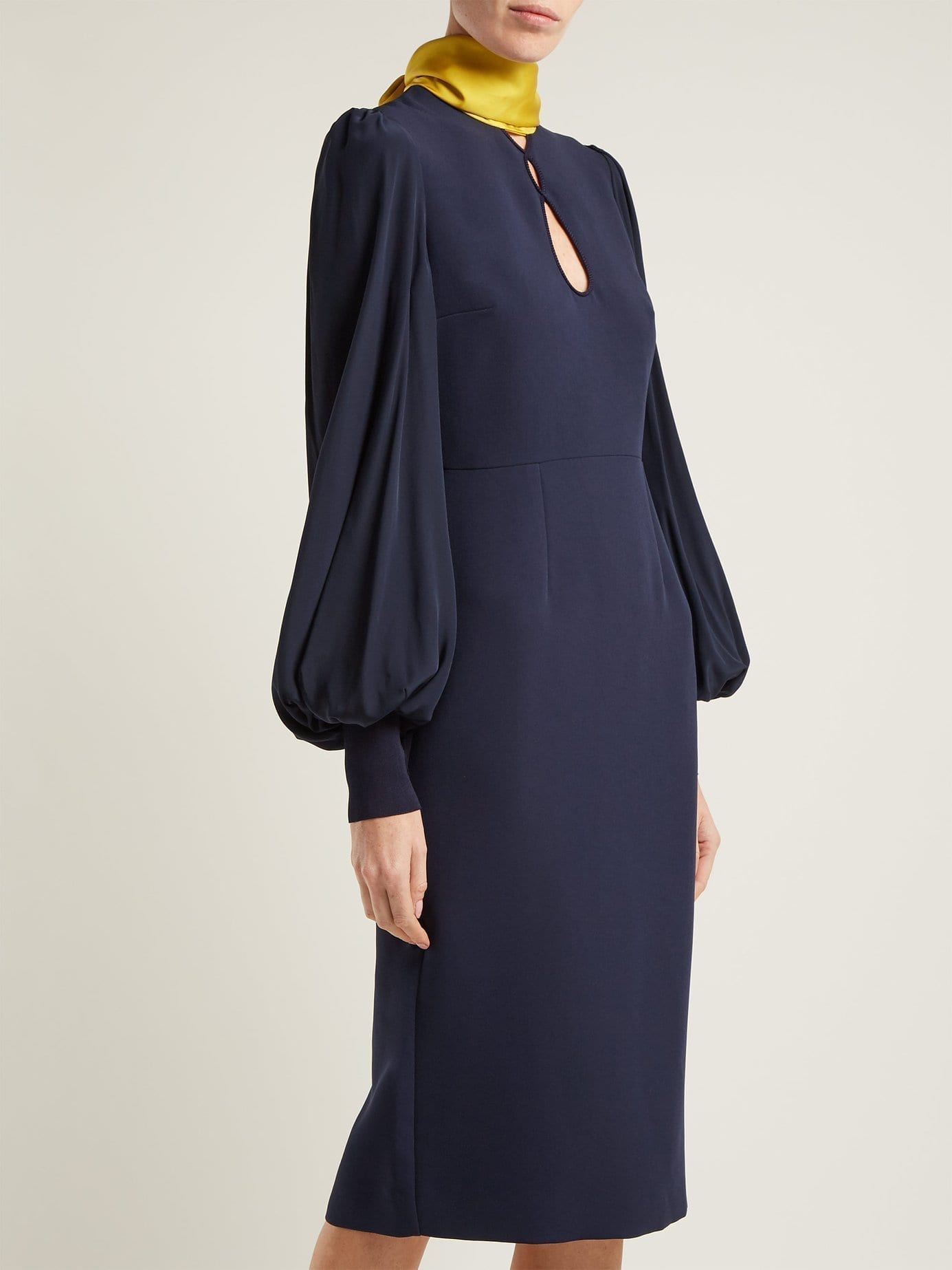 ROKSANDA Ilexa Puff Sleeved Crepe Midi Navy Dress