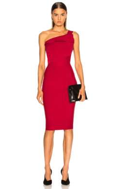 ROLAND MOURET Hepburn Knit Persian Red Dress