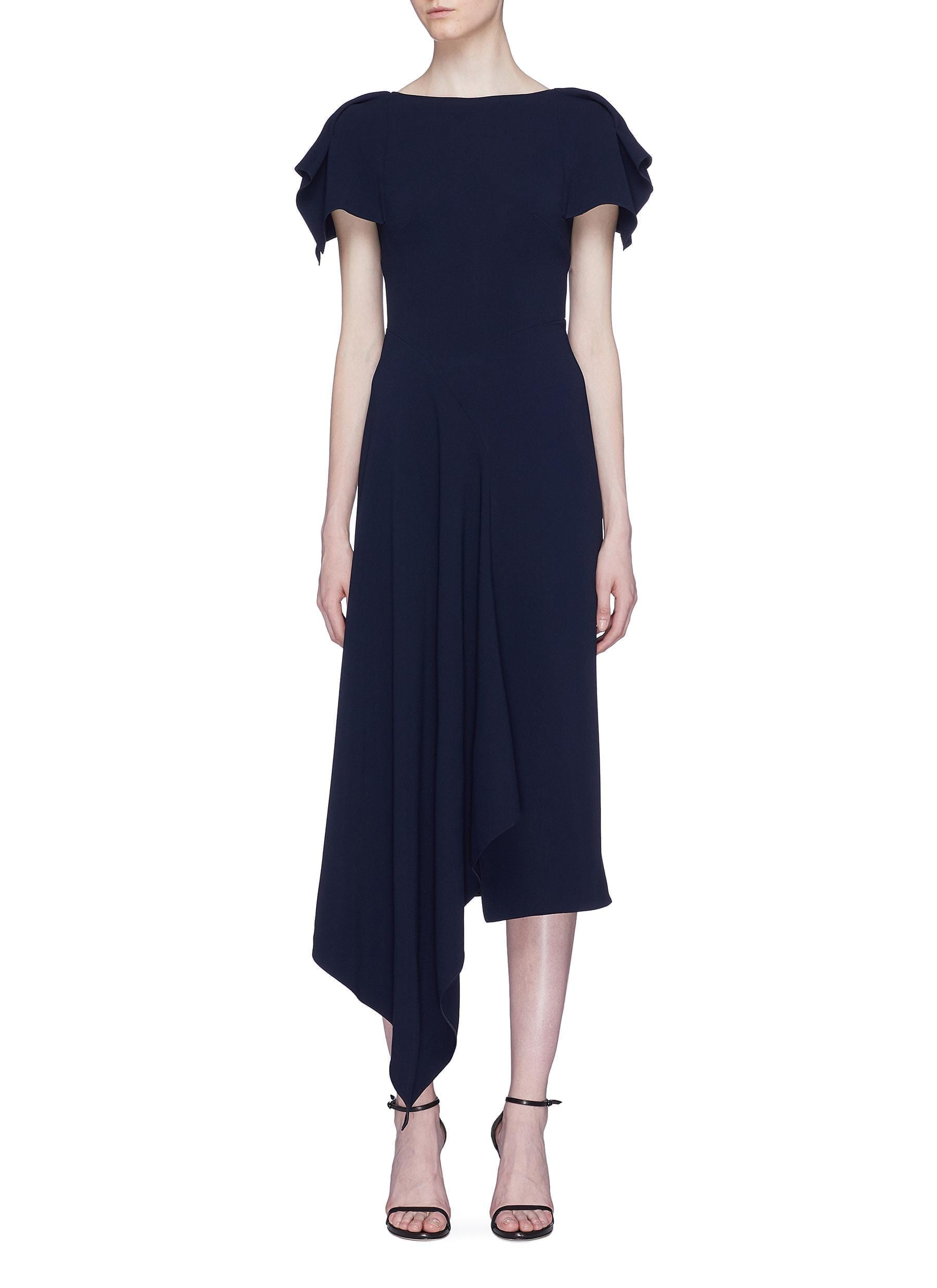ROLAND MOURET 'Warren' Asymmetric Drape Navy Dress